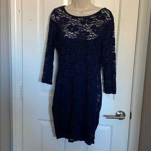 Long Sleeve lace navy blue dress